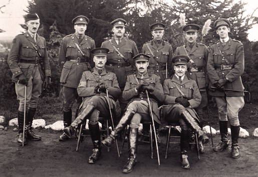 Officers of the 16th Infantry Brigade headquarters at Willows Camp, Victoria, December 1918. [PHOTO: DOROTHY I. PERRIN COLLECTION, LIBRARY AND ARCHIVES CANADA—PA164371]