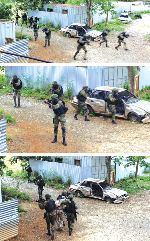 The Jamaican special operations unit moves into place (top and middle) during a staged assault on a compound where they captured a CSOR member (bottom). [PHOTO: ADAM DAY]