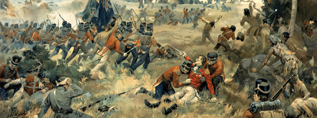 The Battle of Queenston Heights de J.D. Kelly, qui représente les combats et les derniers moments du major-général sir Isaac Brock. [ILLUSTRATION : MUSÉE CANADIEN DE LA GUERRE, COLLECTION BEAVERBROOK—19970051-001]